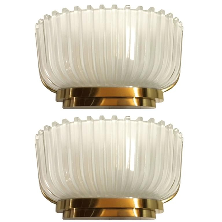 Pair Of Archimede Seguso Fluted Gl Sconces Wall Lights