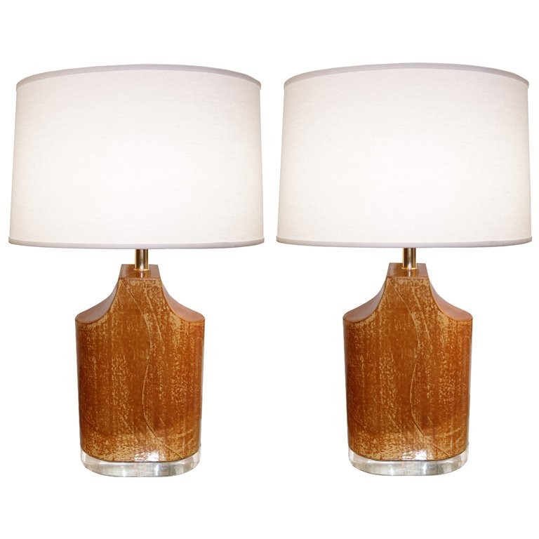 Pair of Goatskin & Lucite Lamps