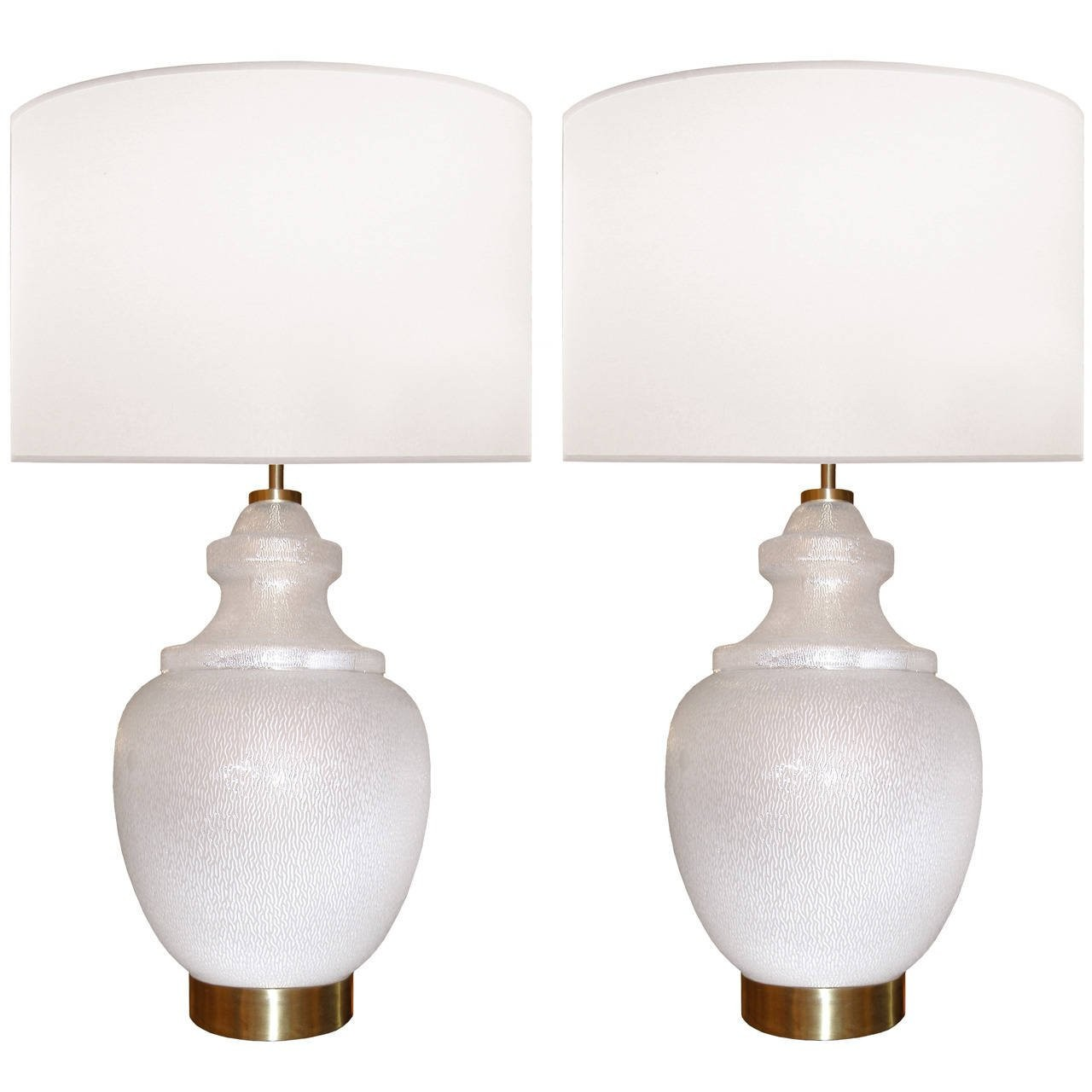 Pair of Large White Textured Glass Lamps