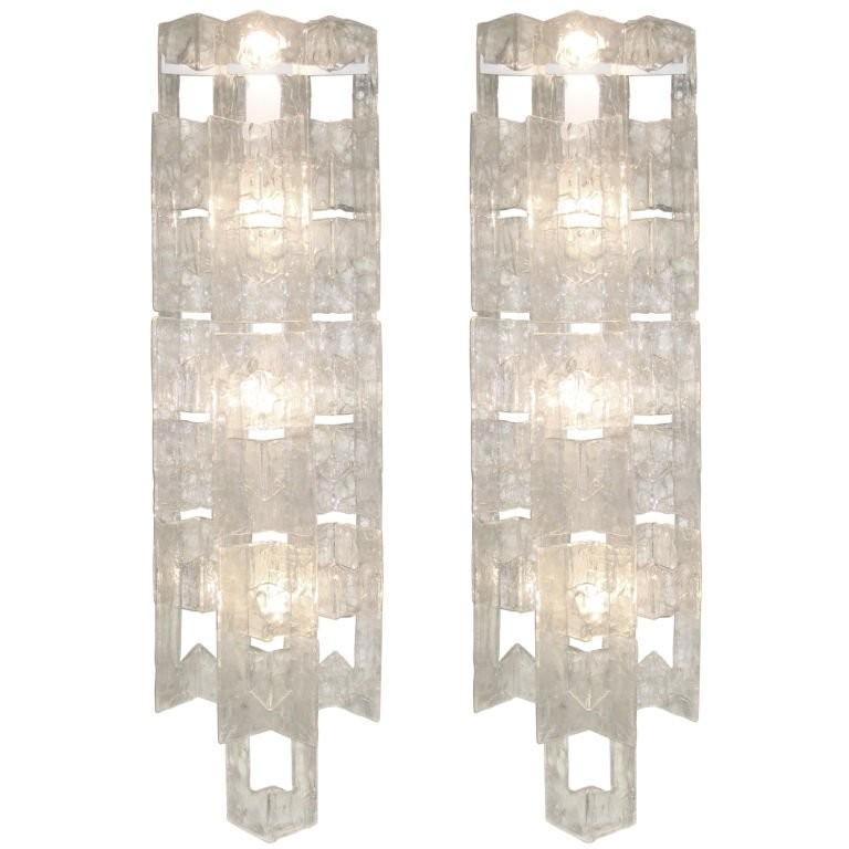Pair of Mazzega Large Glass Sconces