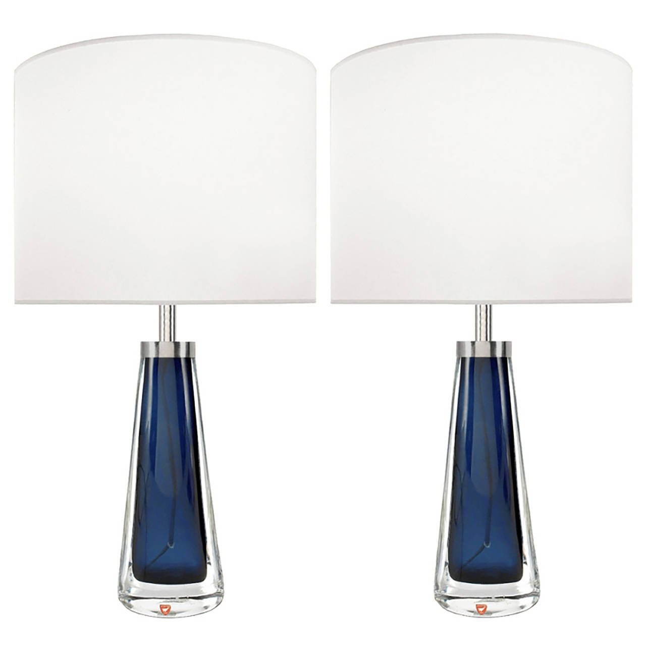 Pair of Nils Landberg for Orrefors Blue Glass Lamps
