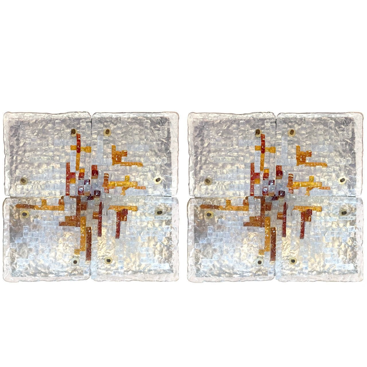 Pair of Sculptural Glass Wall Sconces in the Style of Poliarte