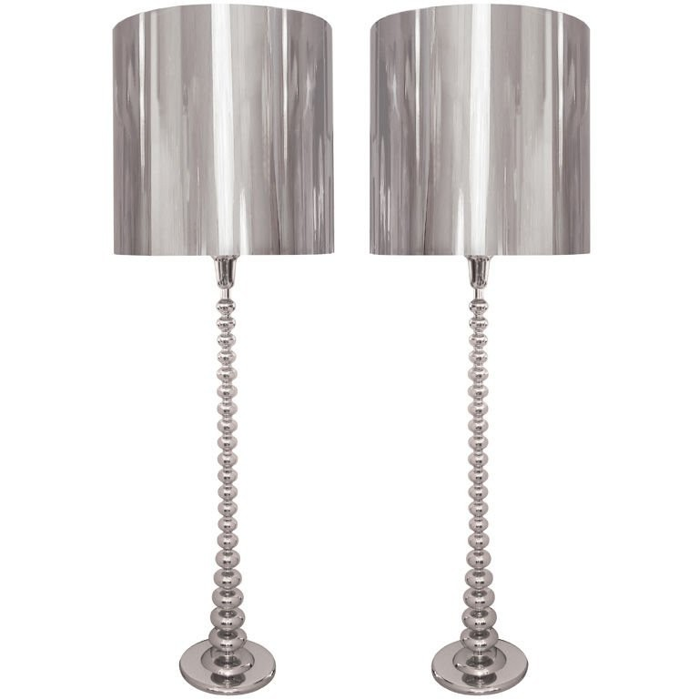 Pair of Polished Nickel Floor Lamps with Polished Nickel Shades