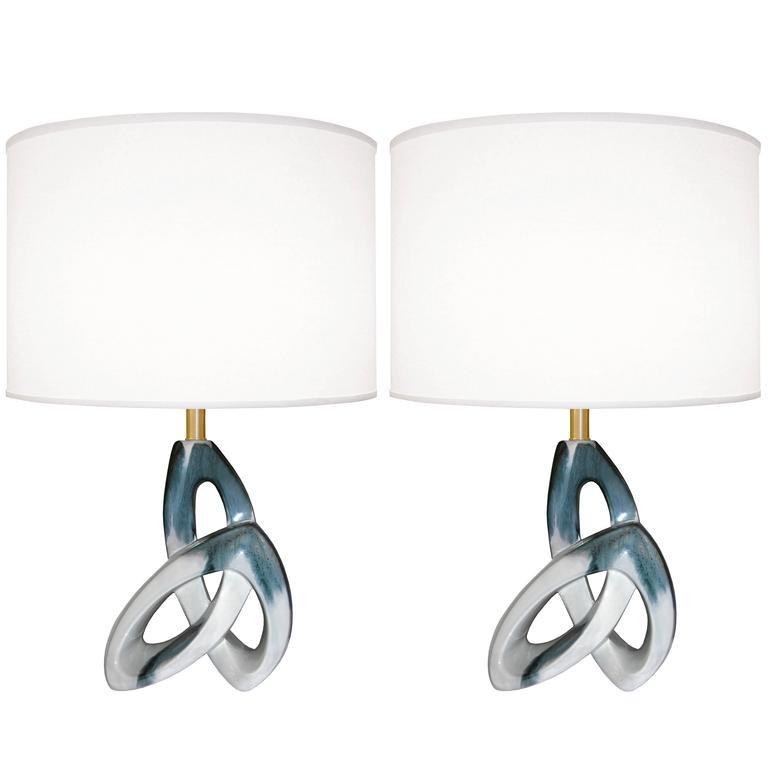 Pair of Sculptural Ceramic Lamps