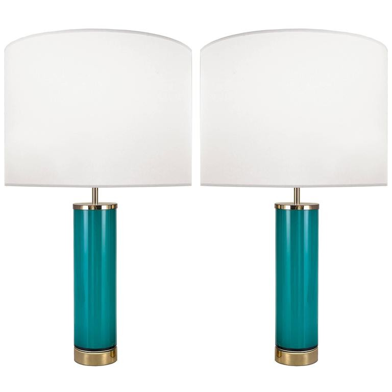 Pair of Swedish Aqua Glass Lamps
