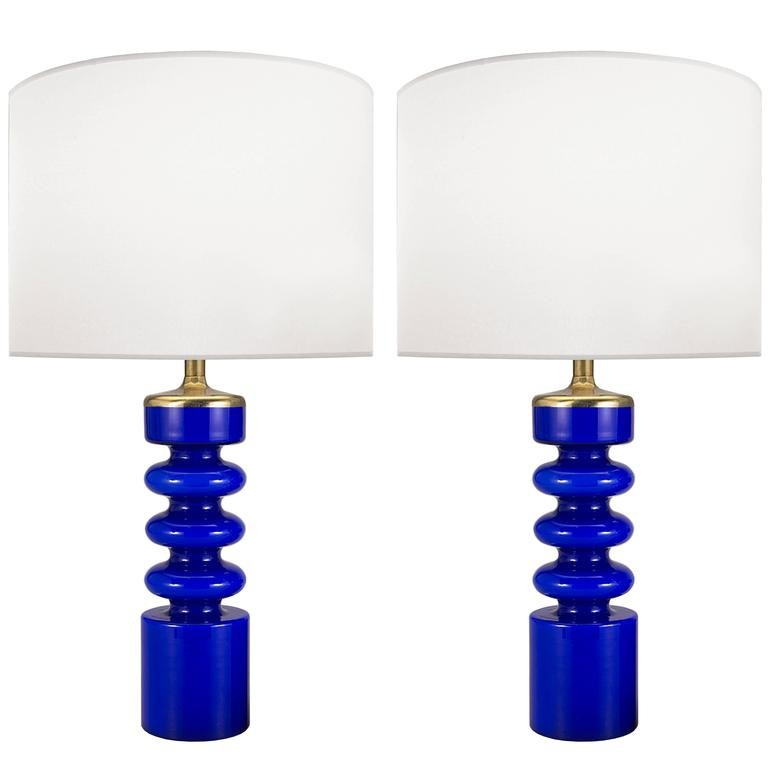 Pair of Swedish Blue Glass Lamps