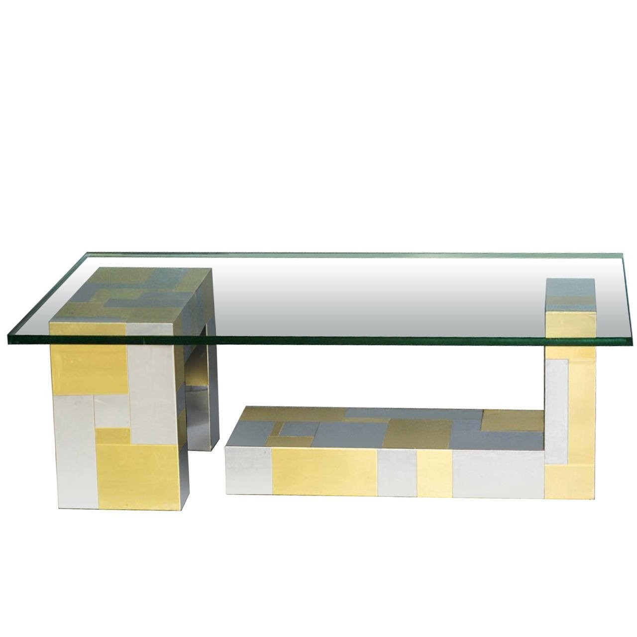 Signed Paul Evans Cityscape Chrome and Brass Coffee Table