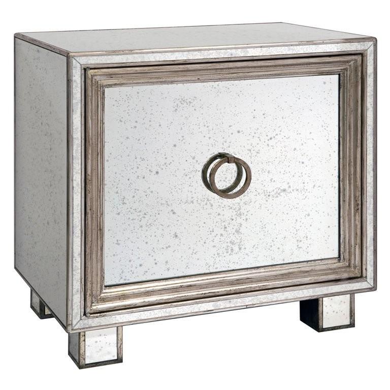 Single Door Mirror and Silver Leaf Cabinet