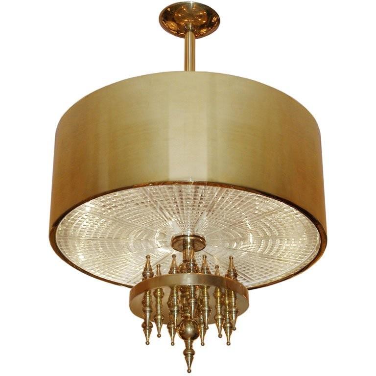 Ragnatella Chandelier Solid Brass Fixture with Starburst Pattern Glass