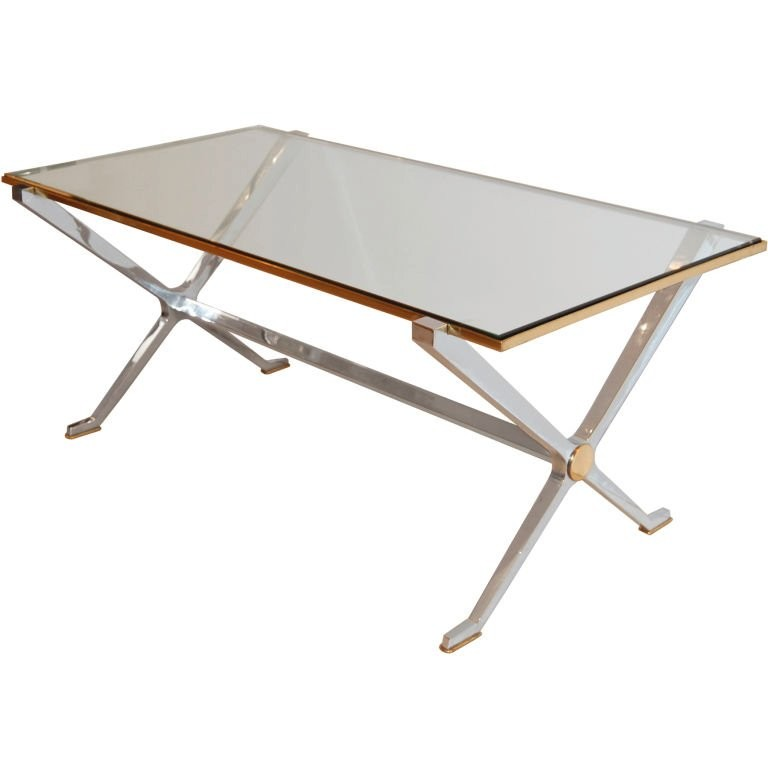 French Steel and Brass Coffee Table with Glass Top