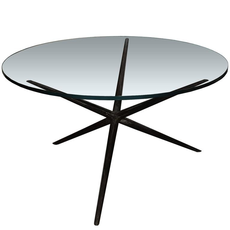 Blackened Hammered Steel Dining Table Base