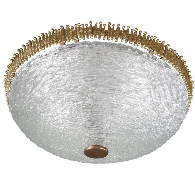 Textured Clear Glass and Brass Fixture by Hillebrand or Kaiser (2 Available)