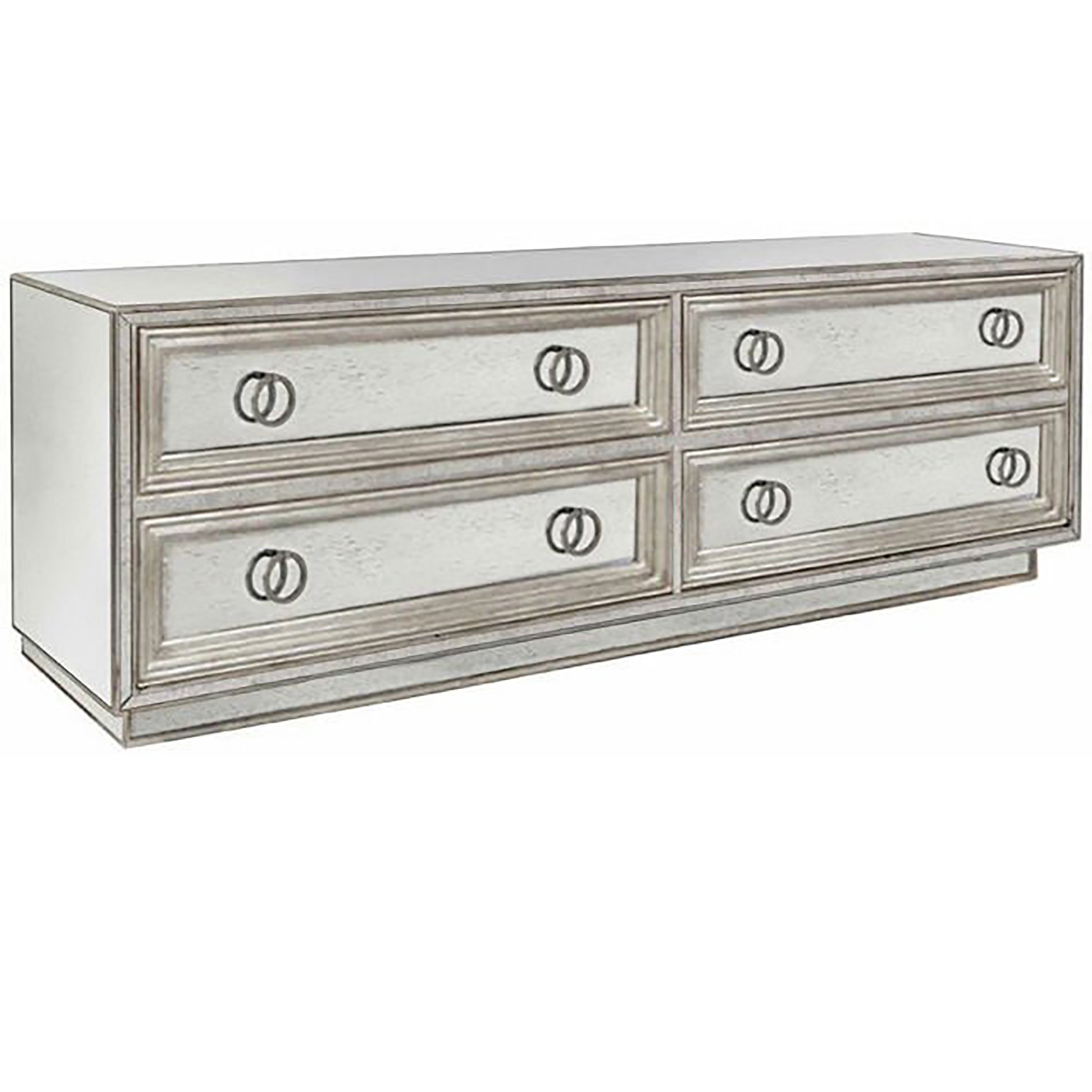 Four Drawer Mirror and Silver Leaf Dresser