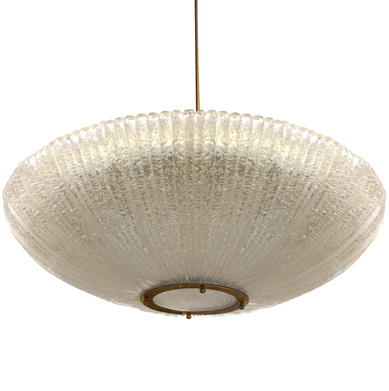 Large Fluted Glass Chandelier by Venini, 1960s (4 Available)