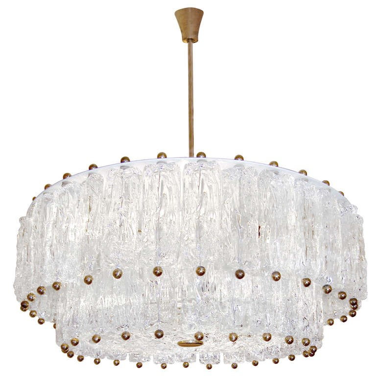 Venini Two-Tier Textured Glass Fixture
