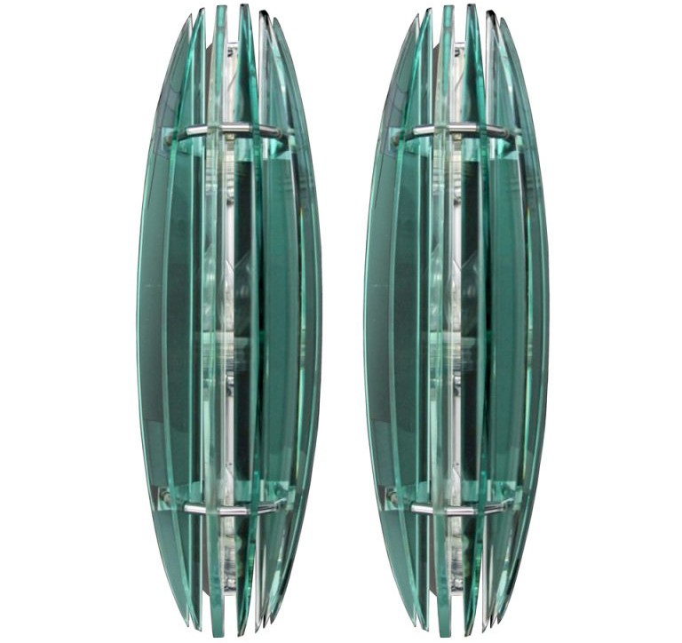 Pair of Large Italian Glass Sconces