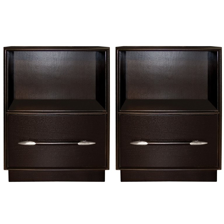 Pair of T. H. Robsjohn-Gibbings Ebonize Walnut Side Tables with Nickel Pulls