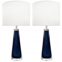 Pair of Blue Glass Lamps by Orrefors for Carl Fagerlund