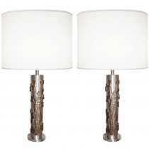 Pair of Moderist Bronze and Brushed Nickel Lamps