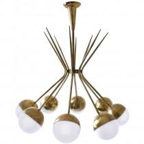 Eight Arm Brass and Glass Chandelier by Stilnovo
