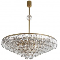 Brass and Glass Chandelier by Palwa