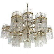 Large 18 Arm Brass and Glass Chandelier by Gaetano Sciolari