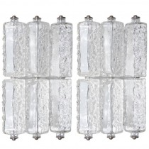 Pair of Polished Nickel & Textured Glass Sconces, Style of Kalmar