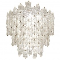 Large Aureliano Toso Brass and Textured Glass Chandelier