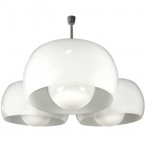 Large Triclinio White Glass Fixture by Vico Magistretti