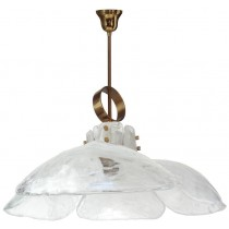 J. T. Kalmar Brass and White Glass Fixture