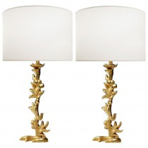 Pair of Sculptural Gilt Bronze Lamps by Mathias Fondica