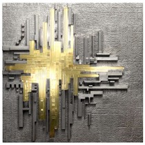 Cast Aluminum and Glass Illuminated Wall Sculpture by Poliarte