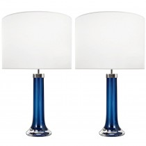 Pair of Johansfors Blue Glass Lamps