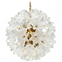 Murano Brass and Glass Flower Ball Chandelier