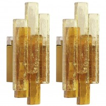 Pair of Amber Glass Sconces by Svend Aage Holm Sorensen, (two pair available)