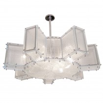 Hypoid Glass and Polished Nickel Chandelier
