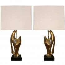 Pair of Philippe Jean Abstract Sculptural Bronze Lamps
