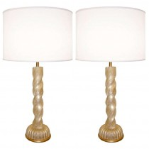 Pair of Barovier Gold Glass Lamps