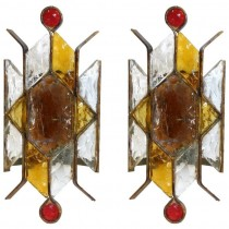 Pair of Brass and Glass Sconces in the style of Poliarte