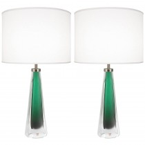 Pair of Green Glass Lamps by Kosta Boda