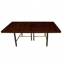 Rosewood and Brass Dining Table by Harvey Probber