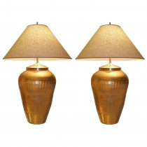 Pair of Large Italian Ceramic Metallic Gold Lamps with Light Craquelure Finish