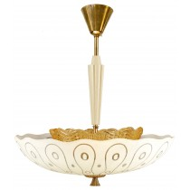 Stylized Etched Glass Chandelier by Carl Fagerlund for Orrefors