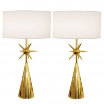 Pair of Modernist Brass Sputnik Lamps