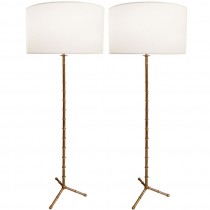 Pair of Jacques Adnet Bronze Bamboo Floor Lamps