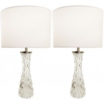 Pair of Orrefors Clear Crystal Lamps