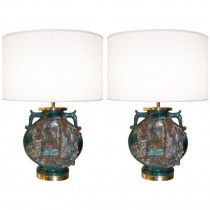 Pair of Marcello Fantoni Ceramic Urn Lamps