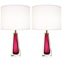 Pair of Nils Landberg for Orrefors Raspberry Glass Lamps