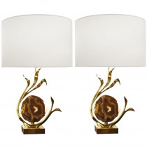 Pair of Signed Willy Daro Bronze and Agate Lamp