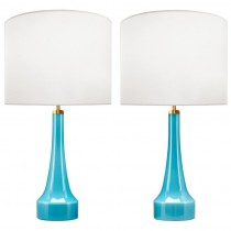 Pair of Holmegaard Blue Glass Lamps